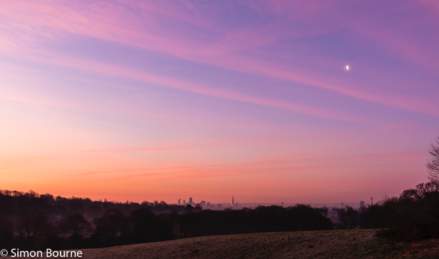 Simon Bourne, photography, photographer, north London, portfolio, image, spring, sunrise, dawn, skyline, Canary Wharf, Gherkin, Shard, London Eye, BT Tower, landscape, moon, Nikon, Hampstead Heath