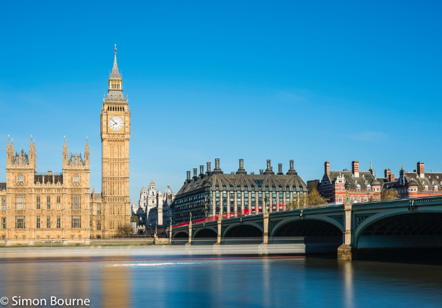 Simon Bourne, photography, photographer, north London, portfolio, image, landscape, River Thames, Houses of Parliament, Big Ben, red buses, river boat, Nikon, Westminster Bridge, long exposure