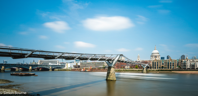 Simon Bourne, photography, photographer, north London, portfolio, image, landscape, structure, bridge, River Thames, river boat, Nikon, Millennium Bridge, long exposure, St Paul's Cathedral