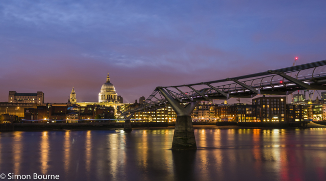 Simon Bourne, photography, photographer, north London, portfolio, image, landscape, structure, bridge, River Thames, river, night, Nikon, Millennium Bridge, long exposure, St Paul's Cathedral, lights