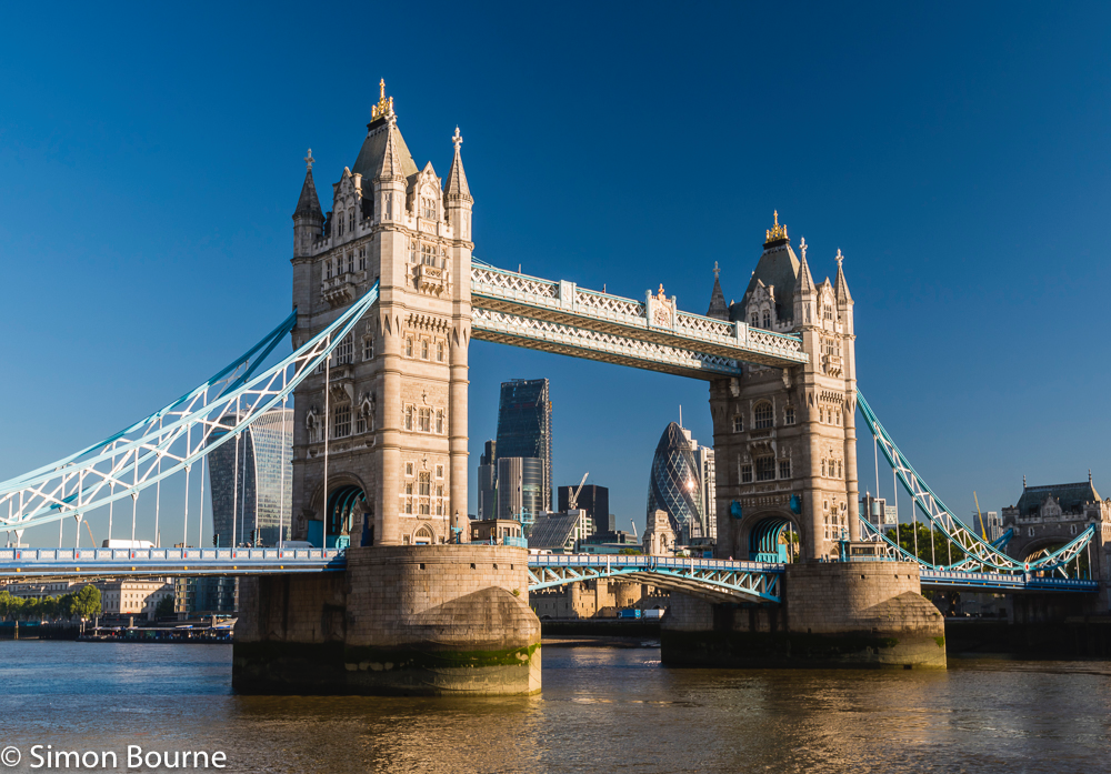 Simon Bourne, photography, photographer, north London, portfolio, image, central London, River Thames, Tower Bridge, polarising filter, The Gherkin, sunlight, Nikon