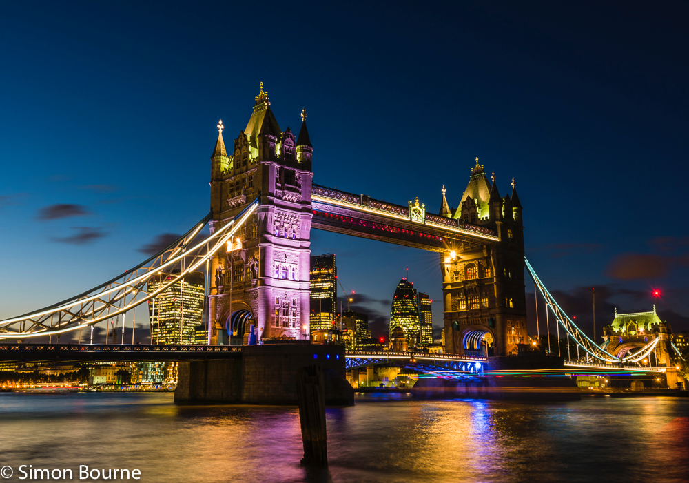 Simon Bourne, photography, photographer, north London, portfolio, image, central London, River Thames, Tower Bridge, The Gherkin, sunset, dusk, night, lights, river boat, Nikon