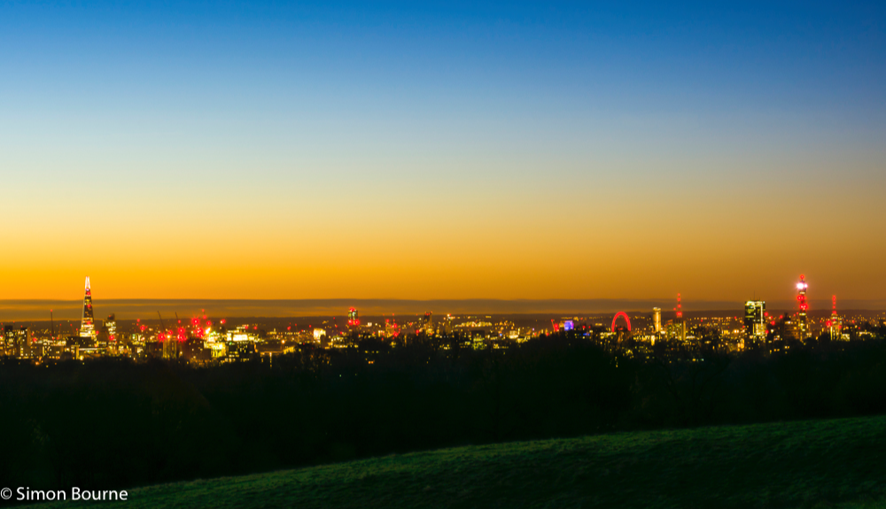 Simon Bourne, photography, photographer, north London, portfolio, image, sunrise, dawn, London skyline, The Shard, London Eye, BT Tower, landscape, tree, Nikon, Hampstead Heath