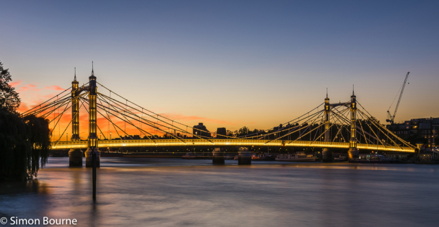 Simon Bourne, photography, photographer, north London, portfolio, image, central London, River Thames, Albert Bridge, sunset, dusk, night, lights, river boat, Nikon, red sky