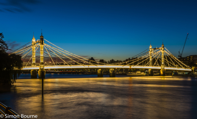 Simon Bourne, photography, photographer, north London, portfolio, image, central London, River Thames, Albert Bridge, sunset, dusk, night, lights, dark blue sky, Nikon