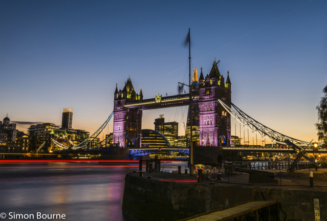 Simon Bourne, photography, photographer, north London, portfolio, image, central London, River Thames, Tower Bridge, The Shard, sunset, dusk, night, lights, river boat, Nikon, City Hall, plane, vapour trail, long exposure
