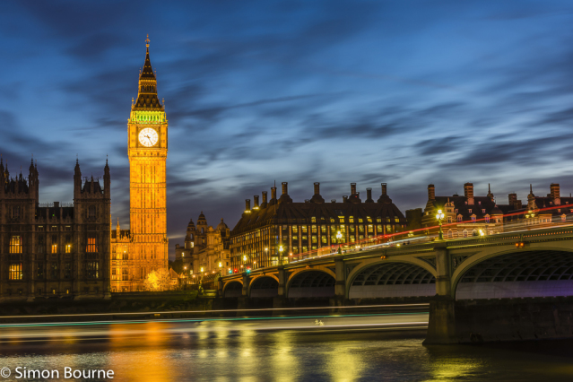 Simon Bourne, photography, photographer, north London, portfolio, image, landscape, structures, Westminster Bridge, Big Ben, River Thames, sunset, dusk, boat, long exposure, Nikon