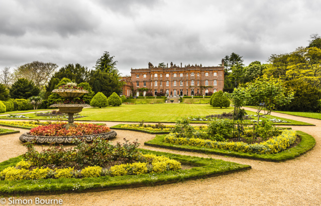 Simon Bourne, photography, photographer, north London, portfolio, image, gardens, spring, Hughenden, home, house, grounds, parterre, Disraeli, Victoria, victorian, storm clouds, Nikon