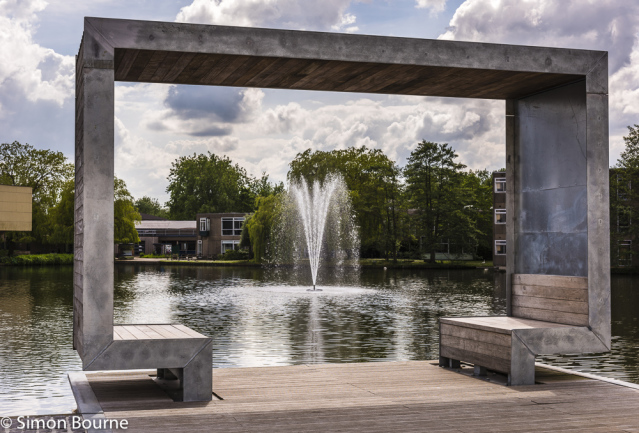 Simon Bourne, photography, photographer, north London, portfolio, image, gardens, spring, lake, York University, campus, grounds, fountain, pond, seating, decking, Nikon