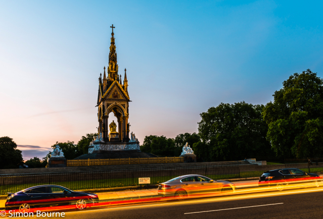 Simon Bourne, photography, photographer, north London, portfolio, image, central London, Albert Memorial, Hyde Park, Prince Regent, Consort, Queen Victoria, Victorian, golden, Nikon, dusk, sunset, long exposure, car trails, lights