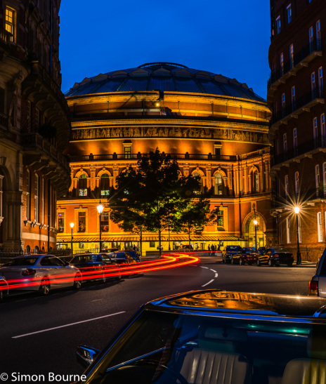 Simon Bourne, photography, photographer, north London, portfolio, image, central London, Royal Albert Hall, Hyde Park, Prince Regent, Consort, Queen Victoria, Victorian, red brick, stone, concert hall, Nikon, dusk, sunset, long exposure, car lights