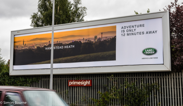Simon Bourne, photography, photographer, north London, portfolio, image, autumn, sunrise, dawn, London skyline, The Shard, London Eye, BT Tower, landscape, tree, Nikon, Hampstead Heath, billboard, advert, Land Rover, campaign, advertising