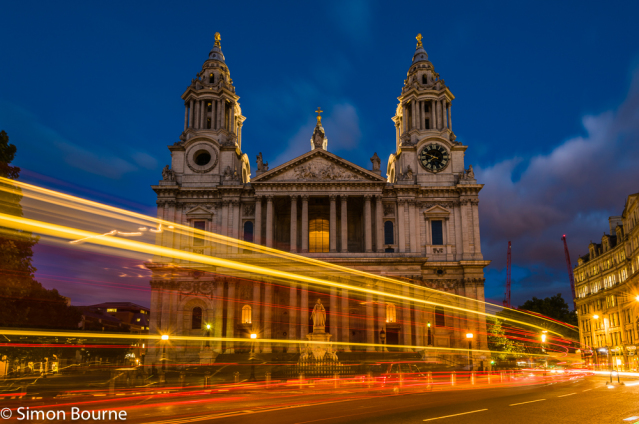Simon Bourne, photography, photographer, north London, portfolio, image, landscape, structure, Nikon, St Paul's Cathedral, buses, cars, dusk, night, lights, church, landmark