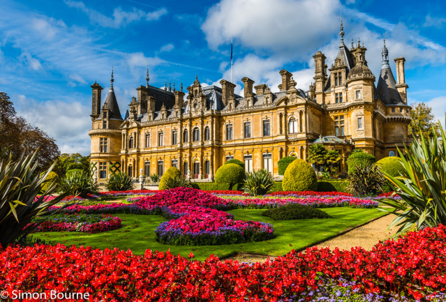 Simon Bourne, photography, photographer, north London, portfolio, image, gardens, autumn, Waddesdon Manor, Buckinghamshire, grounds, National Trust, house, Nikon, flowers, Rothschild, French chateau, parterre, red flowers, bedding, clipped hedges