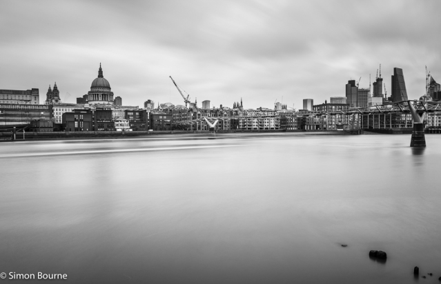 Simon Bourne, photography, photographer, north London, portfolio, image, landscape, structure, bridge, River Thames, river, boat, ship, Nikon, Millennium Bridge, long exposure, St Paul's Cathedral, black and white, trails