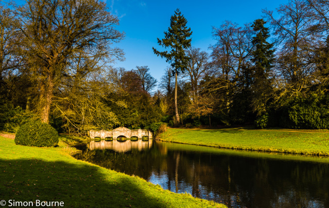 Simon Bourne, photography, photographer, north London, portfolio, image, gardens, winter, Stowe, Buckinghamshire, grounds, National Trust, landscape, Capability Brown, Nikon, Cobham, lake, water, pond, Shell Bridge, dam, river, trees