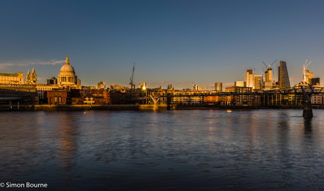 Simon Bourne, photography, photographer, north London, portfolio, image, landscape, structure, bridge, River Thames, river, Nikon, Millennium Bridge, long exposure, St Paul's Cathedral, dusk, sunset, sparkle, starburst