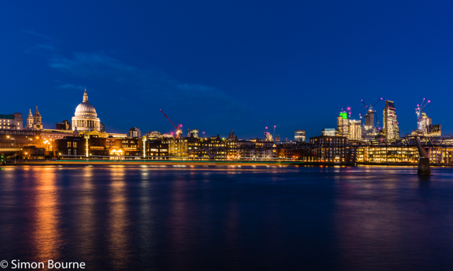 Simon Bourne, photography, photographer, north London, portfolio, image, landscape, structure, bridge, River Thames, river, boat, ship, Nikon, Millennium Bridge, long exposure, St Paul's Cathedral, dusk, night, lights, trails