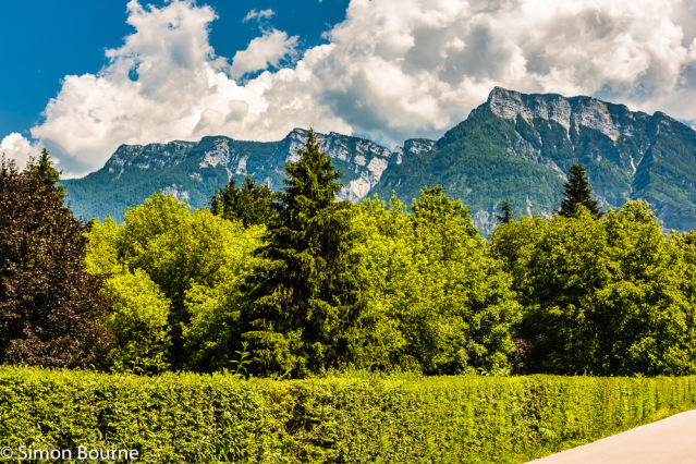 Simon Bourne, photography, photographer, north London, portfolio, image, landscape, Italy, Nikon, Levico Terme, Trentino, mountain, trees, blue sky, alpine, Dolomites, clouds, cloudy