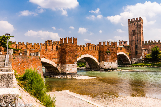 Simon Bourne, photography, photographer, north London, portfolio, image, Nikon, Veneto, Verona, Italy, bridge, Ponte Castelvecchio, landscape, River Adige, tower, brick, arches, stone, three, water