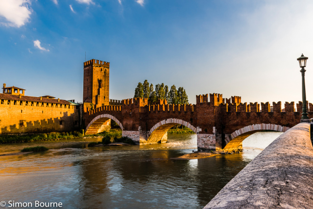 Simon Bourne, photography, photographer, north London, portfolio, image, Nikon, Veneto, Verona, Italy, bridge, Ponte Castelvecchio, landscape, River Adige, tower, sunset, dusk, brick, arches, stone, three, water