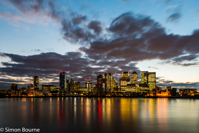 Simon Bourne, photography, photographer, north London, portfolio, image, landscape, structures, River Thames, river, Nikon, cityscape, long exposure, Canary Wharf, dusk, sunset, night, lights, orange, buildings