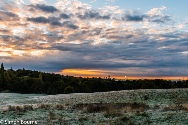 Simon Bourne, photography, photographer, north London, portfolio, image, autumn, sunrise, dawn, landscape, tree, Nikon, Hampstead Heath, London skyline, The Shard, BT Tower, Canary Wharf, orange skies, lights, storm clouds, orange glow, frost, cityscape