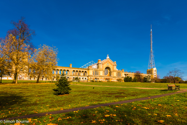 Simon Bourne, photography, photographer, north London, portfolio, image, autumn, fall, early morning, landscape, trees, Nikon, Alexandra Palace Park, landmark, building, TV, tower, aerial, grounds, Muswell Hill, yellow, leaves, path, pathway, facade