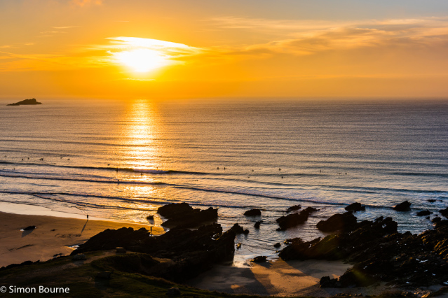 Simon Bourne, photography, photographer, north London, portfolio, image, landscape, seascape, sea, surf, surfing, Nikon, Fistral, Cornwall, sunset, dusk, waves, reflections, rocks, orange sky
