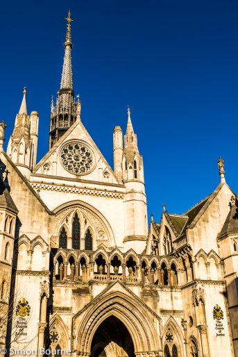 Simon Bourne, photography, photographer, north London, portfolio, image, winter, sunny morning, city, courts, central London, Royal Courts of Justice, The Strand, building, legal, gothic, entrance, spire, blue skies, orange stone, masonry, Nikon