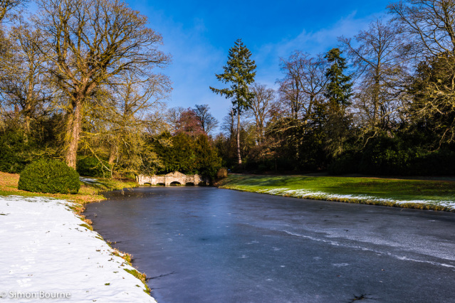 Simon Bourne, photography, photographer, north London, portfolio, image, gardens, winter, Stowe, Buckinghamshire, grounds, National Trust, landscape, Capability Brown, Nikon, Cobham, lake, water, pond, Shell Bridge, dam, river, trees, snow, ice