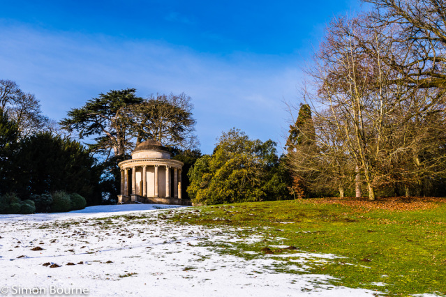 Simon Bourne, photography, photographer, north London, portfolio, image, gardens, winter, Stowe, Buckinghamshire, Cobham, grounds, National Trust, landscape, Capability Brown, Nikon, Elysian Fields, Temple of Ancient Virtue, rotunda, trees, snow