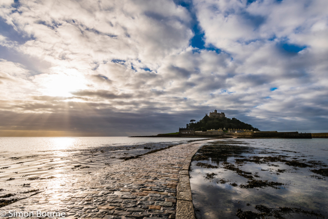 Simon Bourne, photography, photographer, north London, portfolio, image, landscape, seascape, sea, Nikon, St Michael's Mount, Penzance, Marazion, Cornwall, early morning, sunrise, reflections, crepuscular rays, church, God, monastery, clouds, causeway