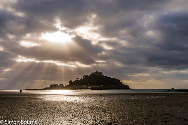 Simon Bourne, photography, photographer, north London, portfolio, image, landscape, seascape, sea, Nikon, St Michael's Mount, Penzance, Marazion, Cornwall, early morning, sunrise, reflections, crepuscular rays, church, God, monastery, clouds, cloudy
