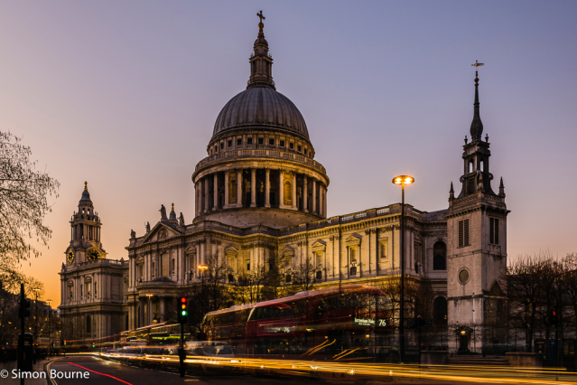 Simon Bourne, photography, photographer, north London, portfolio, image, landscape, structure, building, Nikon, St Paul's Cathedral, sunset, dusk, night, lights, church, landmark, dome, Wren, bus, traffic