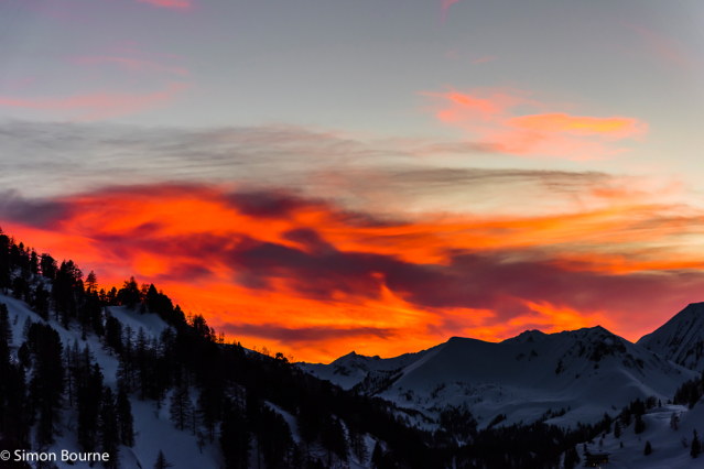 Simon Bourne, photography, photographer, north London, portfolio, image, landscape, Austria, Nikon, Obertauern, alps, alpine, mountain, sky, red skies, snow, sunset, dusk, trees, clouds, peaks, skiing, ski resort