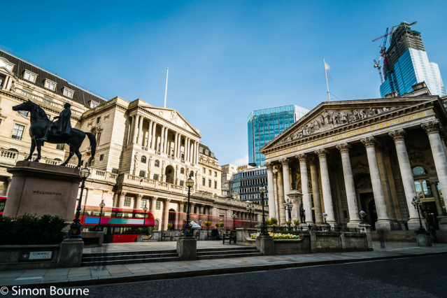 Simon Bourne, photography, photographer, London, portfolio, image, spring, sunny morning, city, central London, Bank of England, Threadneedle Street, building, entrance, blue skies, long exposure, Royal Exchange, Wellington statue, Nikon, red London bus t