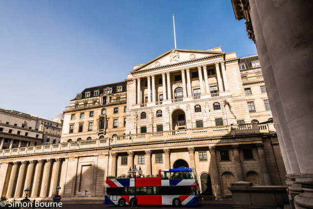 Simon Bourne, photography, photographer, north London, portfolio, image, spring, sunny morning, city, central London, Bank of England, Threadneedle Street, building, entrance, blue skies, orange stone, masonry, Nikon, London bus, Union Flag, Union Jack