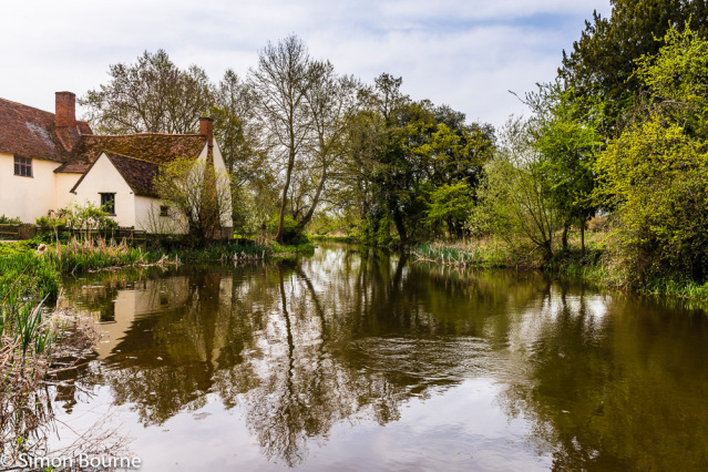 Simon Bourne, photography, photographer, north London, portfolio, image, landscape, Nikon, Flatford Mill, Suffolk, early morning, spring, sun, blue skies, reflections, River Stour, mill pond, water, lake, John Constable, Hay Wain