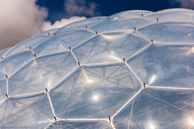 Simon Bourne, photography, photographer, north London, portfolio, image, Mediterranean Biome, structure, Nikon, steel, dome, St Austell, Eden Project, Cornwall, summer, sun, blue skies, clouds, hexagons
