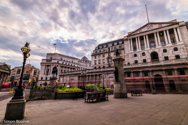 Simon Bourne, photography, photographer, London, portfolio, image, summer, early evening, city, central London, Bank of England, Threadneedle Street, building, sunset, dusk, long exposure, Nikon, red London bus trails