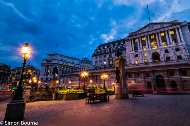Simon Bourne, photography, photographer, London, portfolio, image, summer, evening, city, central London, Bank of England, Threadneedle Street, building, sunset, dusk, long exposure, Nikon, red London bus trails, lights, night