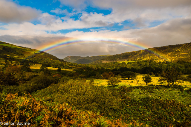 Simon Bourne, photography, photographer, north London, portfolio, image, autumn, early morning, landscape, trees, Nikon, Abergwyngregyn, rainbow, arch, water drops, valley, Snowdonia, North Wales, water, hills, mountains