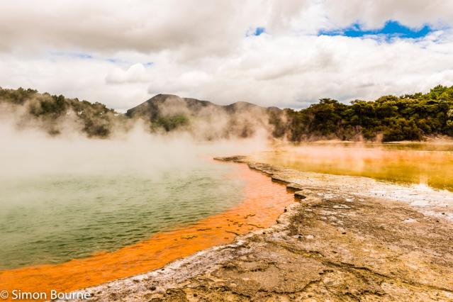 Simon Bourne, photography, photographer, north London, portfolio, image, spring, landscape, Nikon, North Island, New Zealand, Aotearoa, Rotorua, volcano, Waiotapu, Champagne Pool, bubbling water, steam, boiling, hot spots, red and orange colours