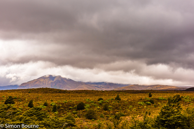 Simon Bourne, photography, photographer, north London, portfolio, image, spring, landscape, Nikon, Mount Tongariro, North Island, New Zealand, Aotearoa, Tongariro National Park, mountains, Mount Ngauruhoe, low cloud, fell, heather, rain, storm, stormy