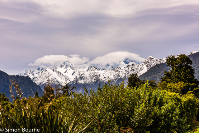 Simon Bourne, photography, photographer, north London, portfolio, image, spring, landscape, Nikon, Mount Cook, Mount Tasman, South Island, New Zealand, Aotearoa, mountains, snow, peaks, low white cloud