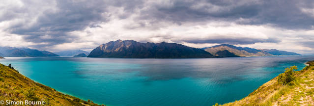 Simon Bourne, photography, photographer, north London, portfolio, image, spring, landscape, Nikon, Lake Hawea, South Island, New Zealand, Aotearoa, lake, glacial, mountains, aquamarine blue, green