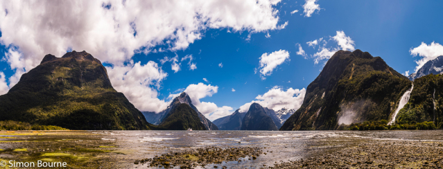 Simon Bourne, photography, photographer, north London, portfolio, image, spring, landscape, Nikon, Mitre Peak, fjord, South Island, Milford Sound, New Zealand, Aotearoa, mountains, snow, peaks, Bowen Falls, waterfall