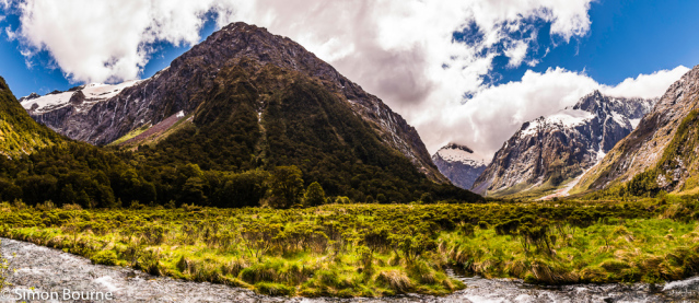 Simon Bourne, photography, photographer, north London, portfolio, image, spring, landscape, Nikon, Monkey Creek, Milford Sound, South Island, New Zealand, Aotearoa, mountains, snow, peaks, river, Hollyford Valley, waterfalls