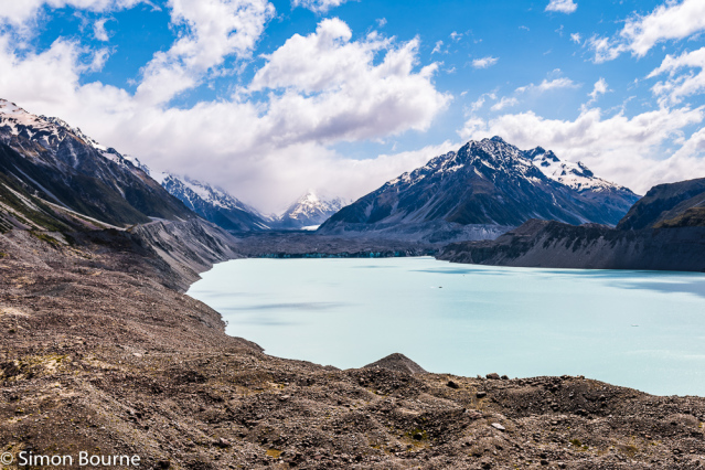Simon Bourne, photography, photographer, north London, portfolio, image, spring, landscape, Nikon, Tasman Lake, Tasman Glacier, South Island, New Zealand, Aotearoa, lake, glacial, snow, ice, icebergs, Mount Tasman, Mount Cook, mountains, moraine, scree
